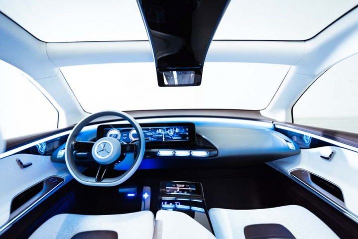 Riding shotgun in the Mercedes EQ concept